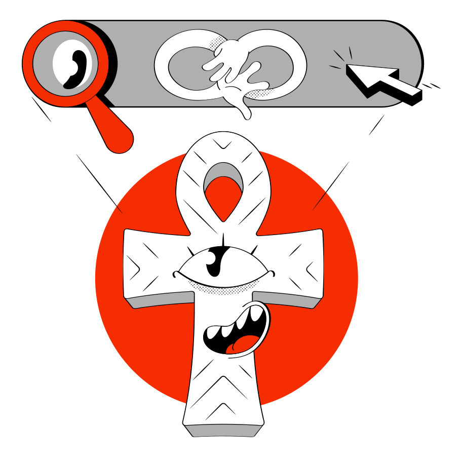 Searching! Clipart illustration in PNG, SVG