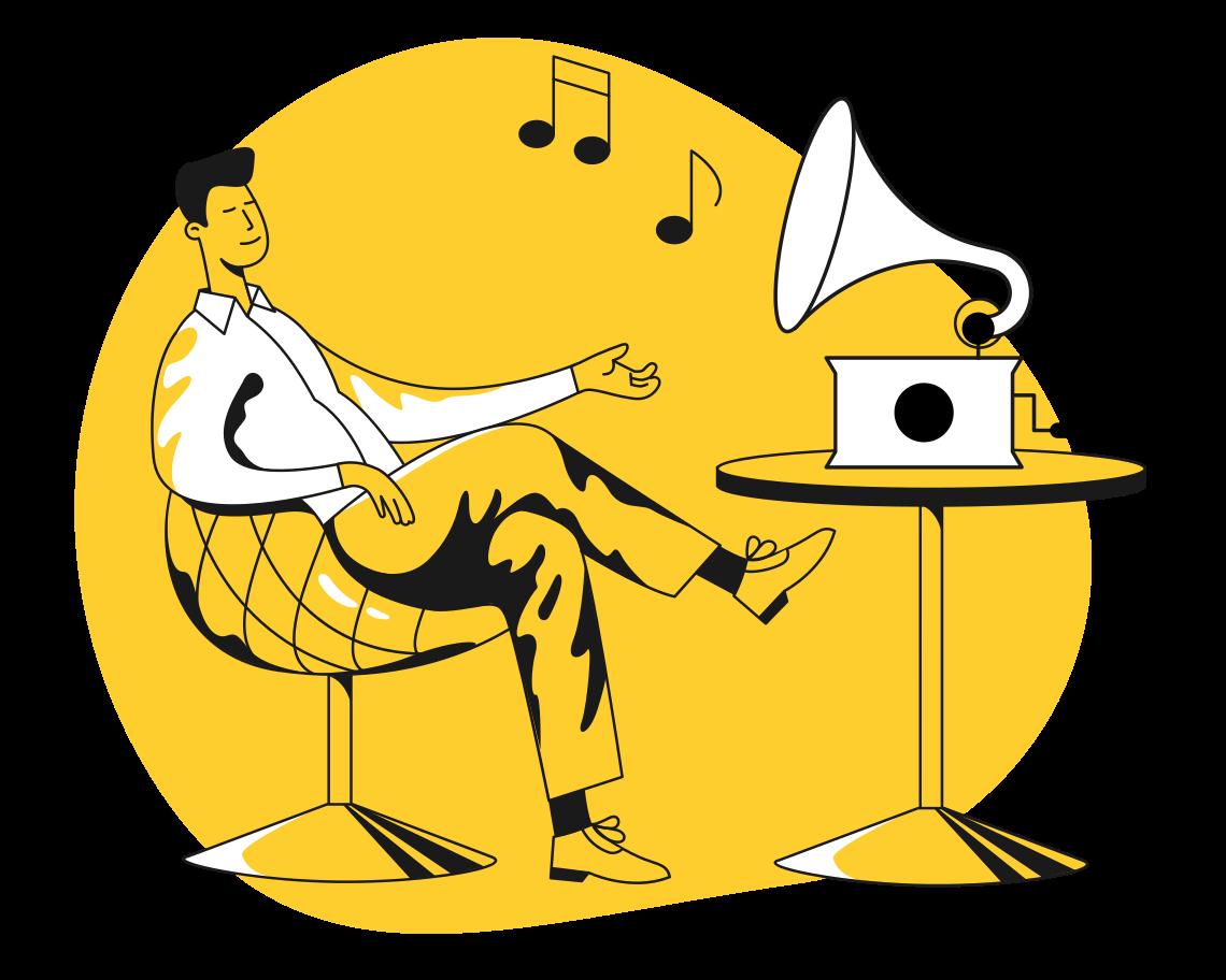 PNGとSVGの  スタイルの 音楽を聴く ベクターイメージ | Icons8 イラスト