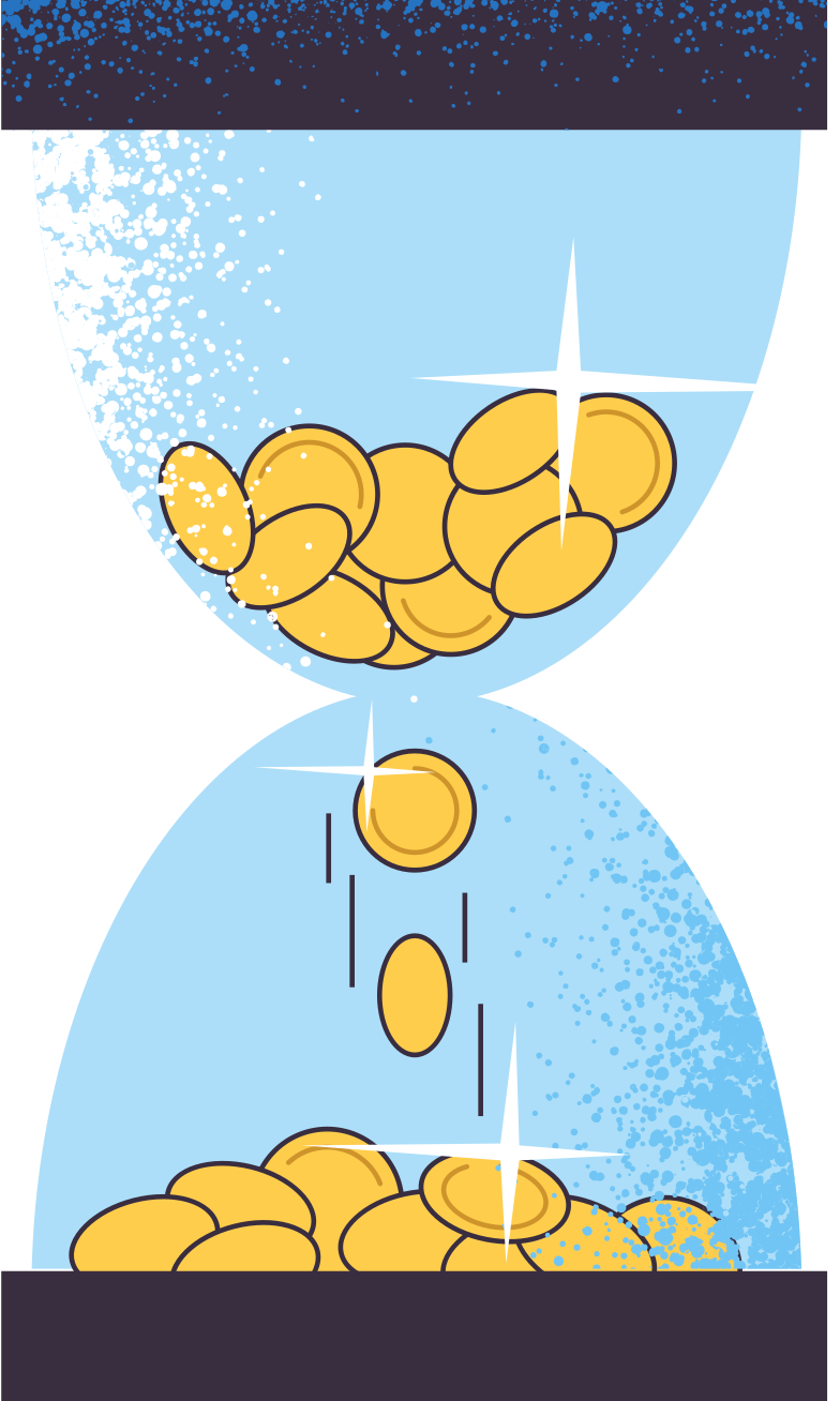 sandglass-with-money Clipart illustration in PNG, SVG