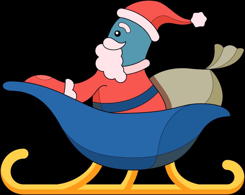 Santa im schlitten Clipart-Grafik als PNG, SVG