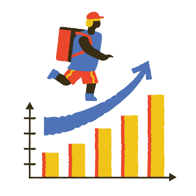style Profit growth in the delivery segment Vector images in PNG and SVG | Icons8 Illustrations