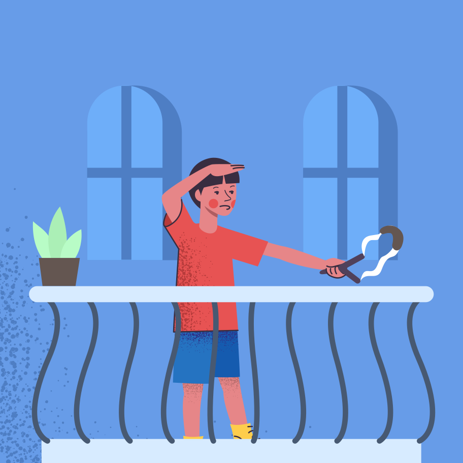 Boy is playing on the balcony Clipart illustration in PNG, SVG