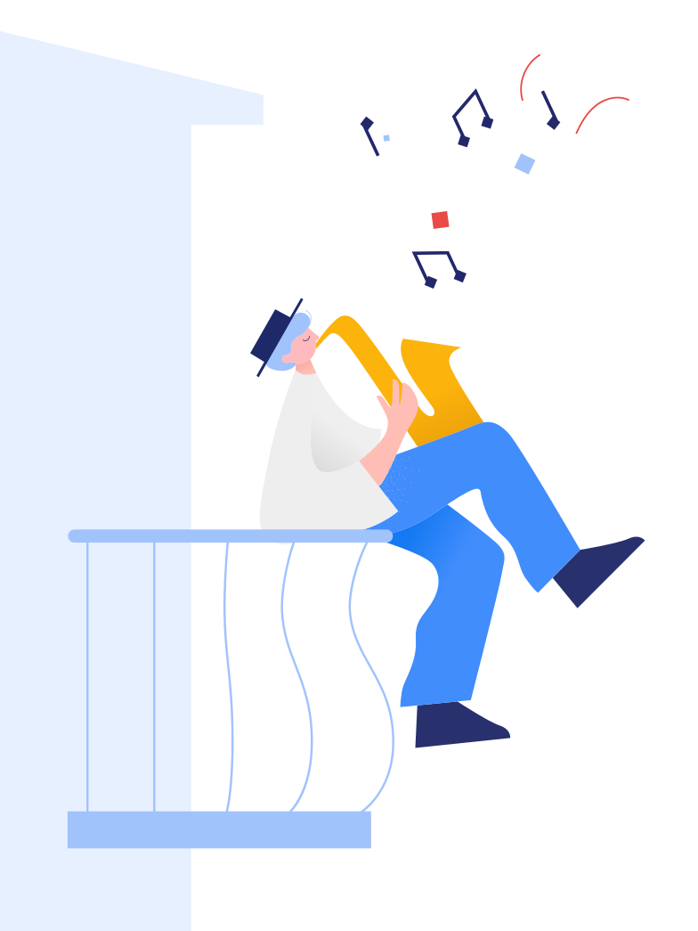 style Man plays the saxophone on the balcony Vector images in PNG and SVG | Icons8 Illustrations