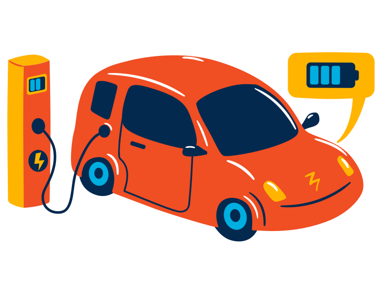 Electric car service Clipart illustration in PNG, SVG