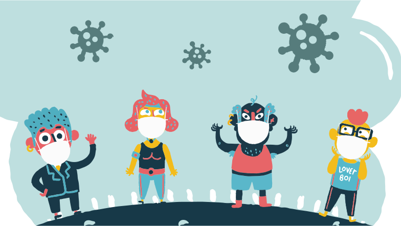 People with masks Clipart illustration in PNG, SVG