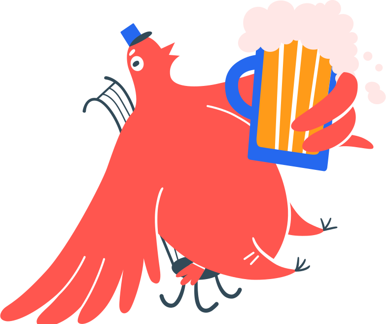 postman bird on chair with beer Clipart illustration in PNG, SVG