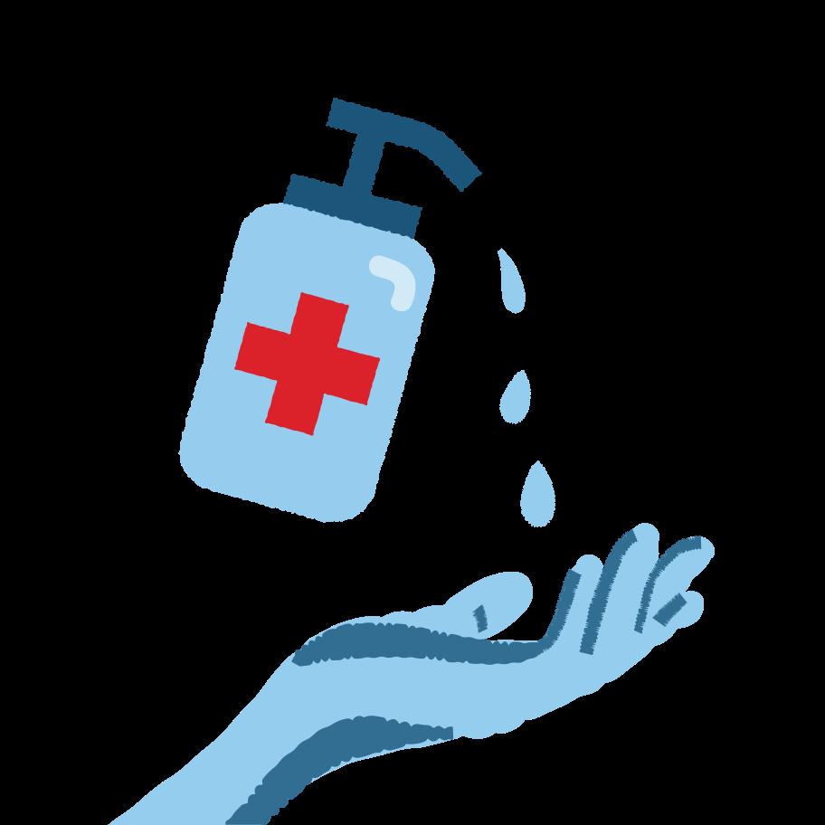 Hand sterilisation Clipart illustration in PNG, SVG