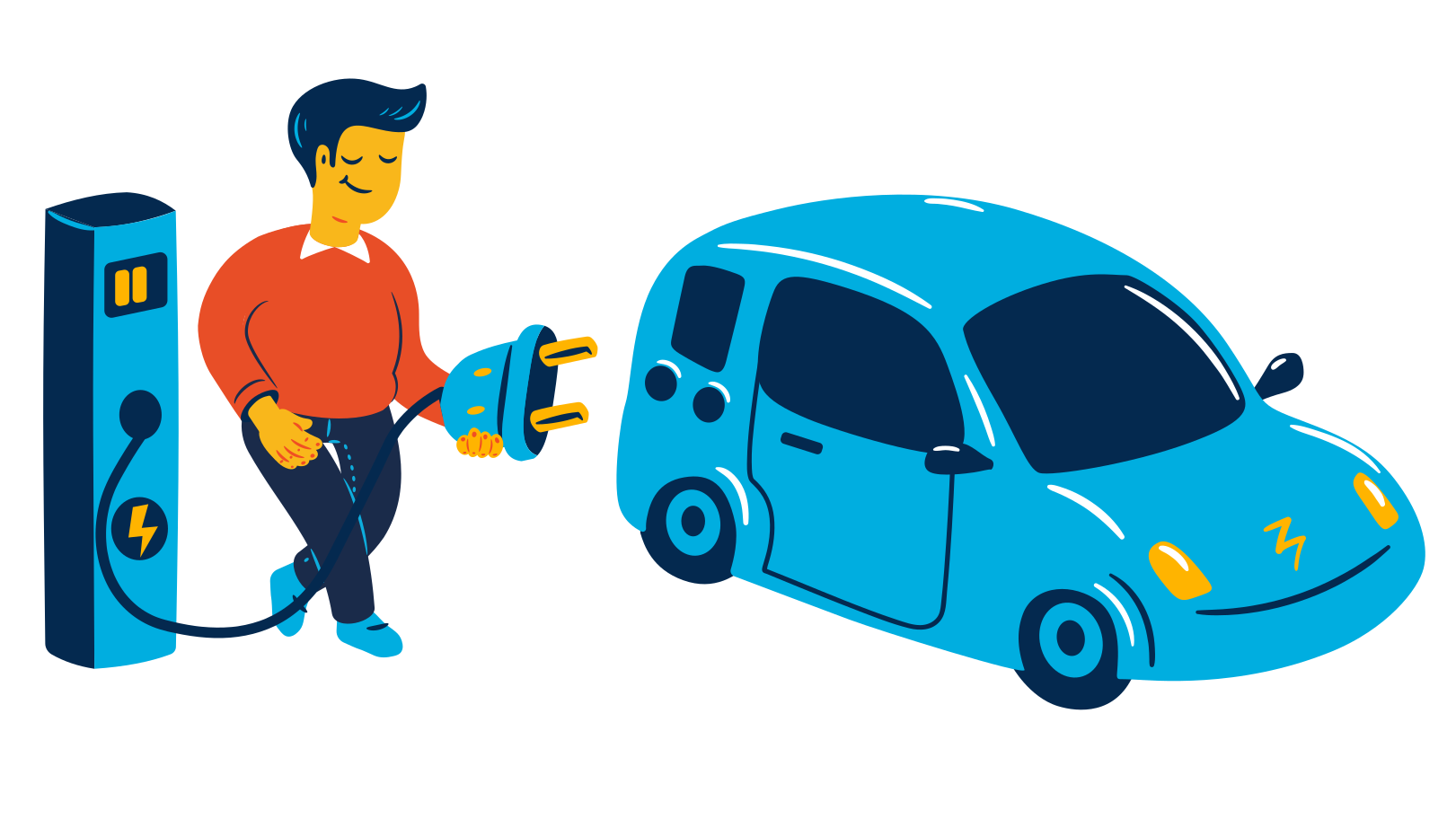 Electric car charging Clipart illustration in PNG, SVG