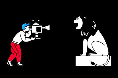 Иллюстрация Интервью со львом в стиле  в PNG и SVG | Icons8 Иллюстрации