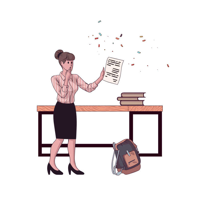 Professor checks school paper Clipart illustration in PNG, SVG