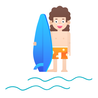style Surfing boy images in PNG and SVG | Icons8 Illustrations