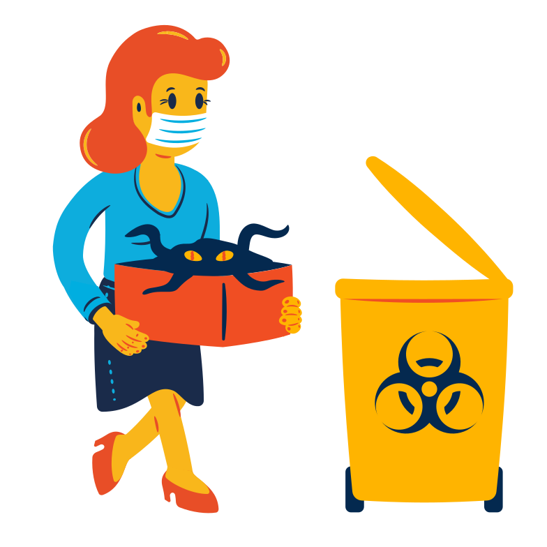 Biohazard waste sorting Clipart illustration in PNG, SVG