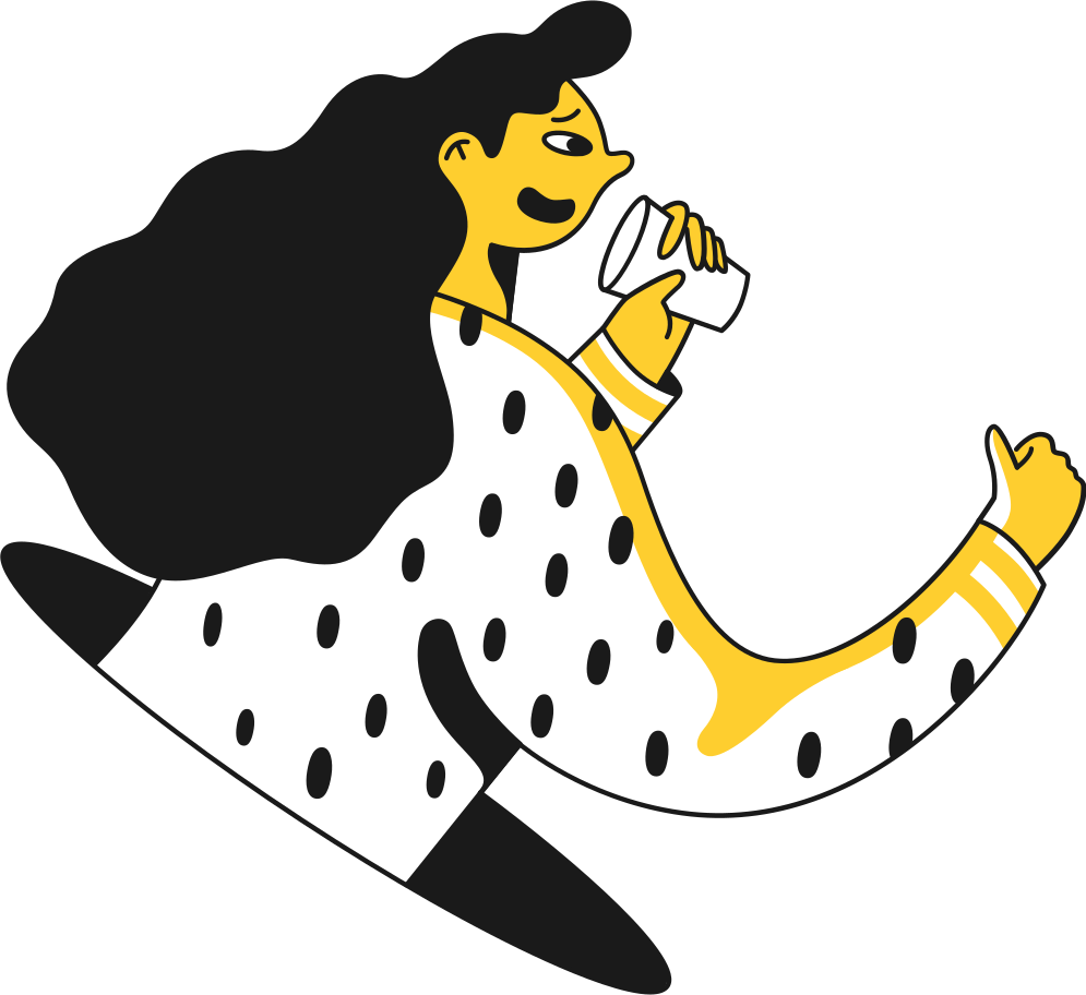 girl talking to cup Clipart illustration in PNG, SVG