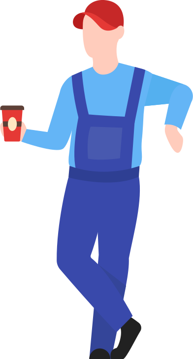 style man with man warehouse worker with coffee images in PNG and SVG | Icons8 Illustrations