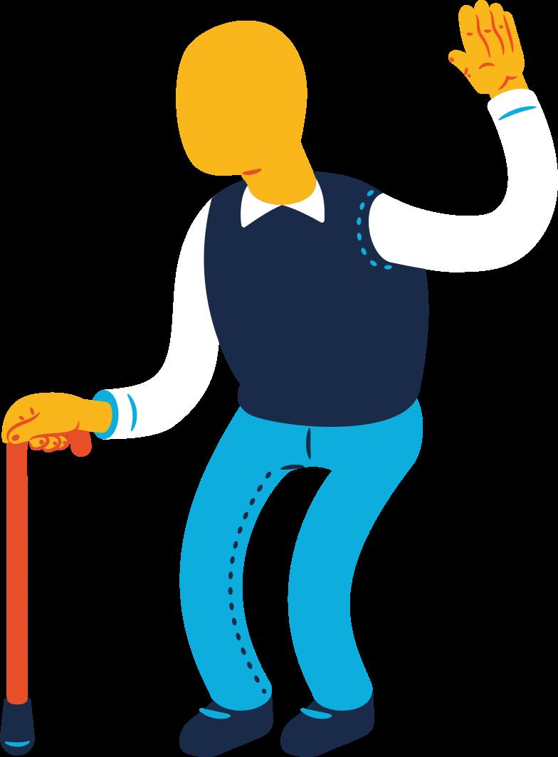 Illustration clipart Vieil homme salutation aux formats PNG, SVG