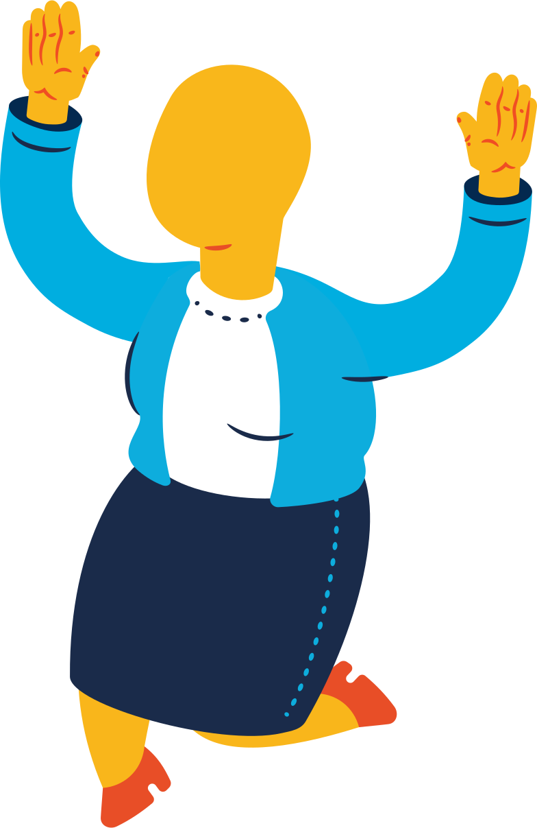 chubby old woman jumping profile Clipart illustration in PNG, SVG