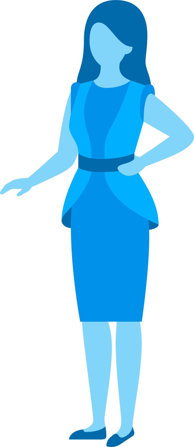 woman in blue tones Clipart illustration in PNG, SVG