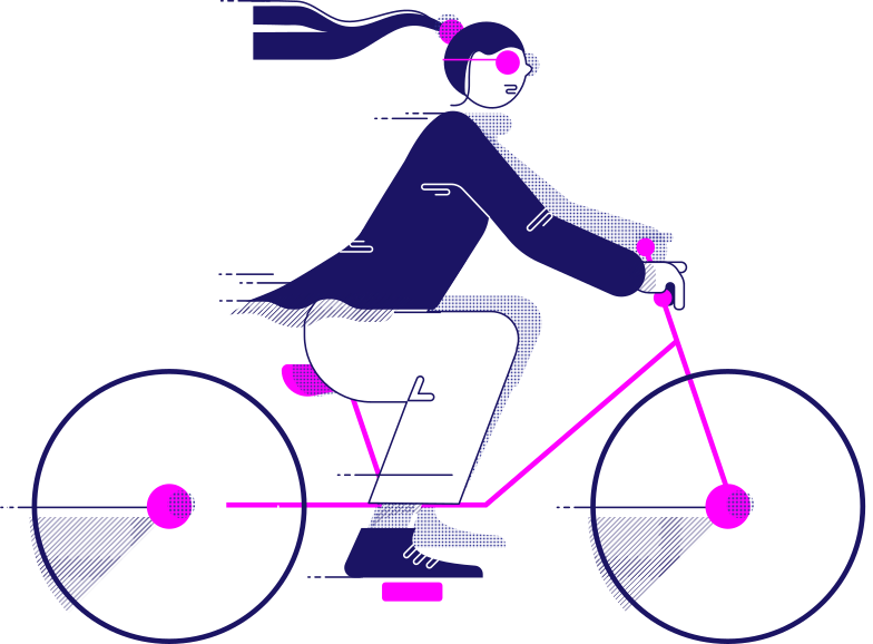y traveling woman on the bicycle Clipart illustration in PNG, SVG