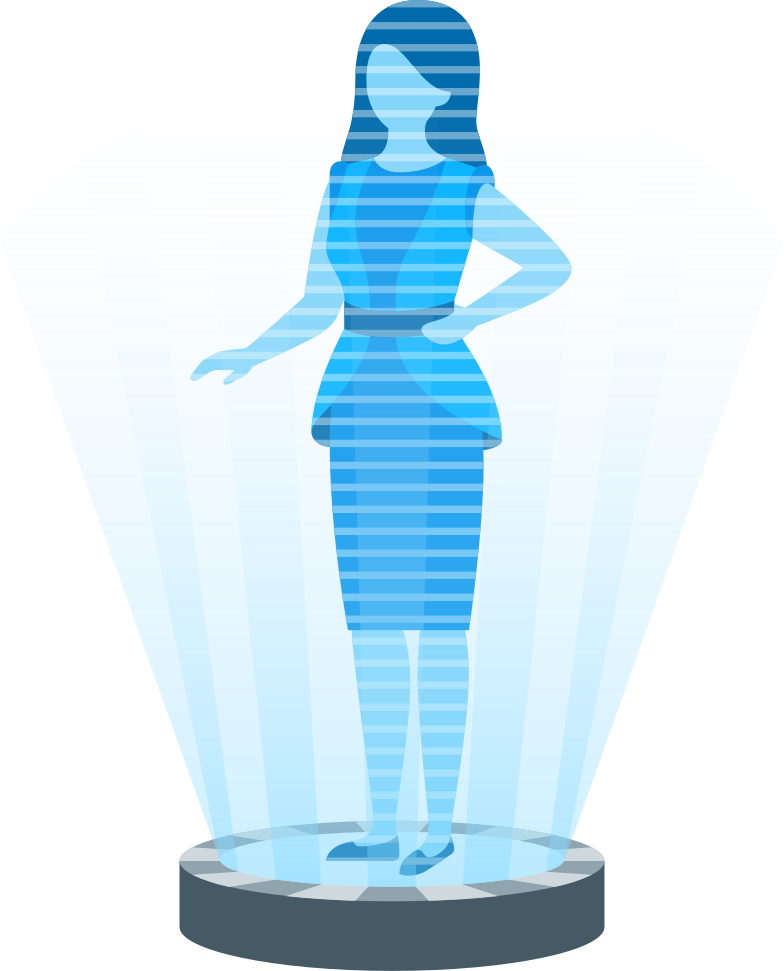 woman in holographic projector Clipart illustration in PNG, SVG