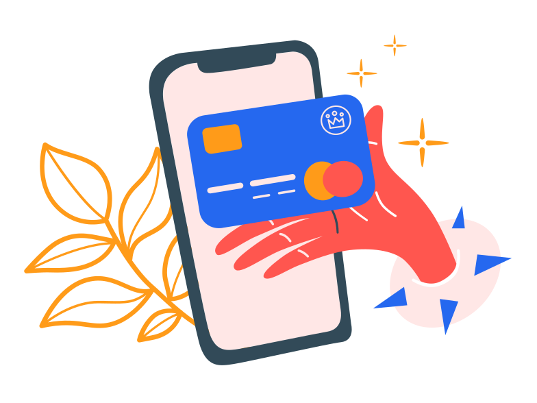 Paying with card online  Clipart illustration in PNG, SVG