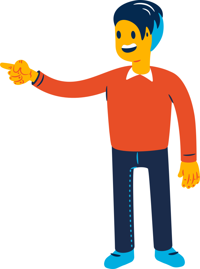 man pointing a finger from behind the front Clipart illustration in PNG, SVG