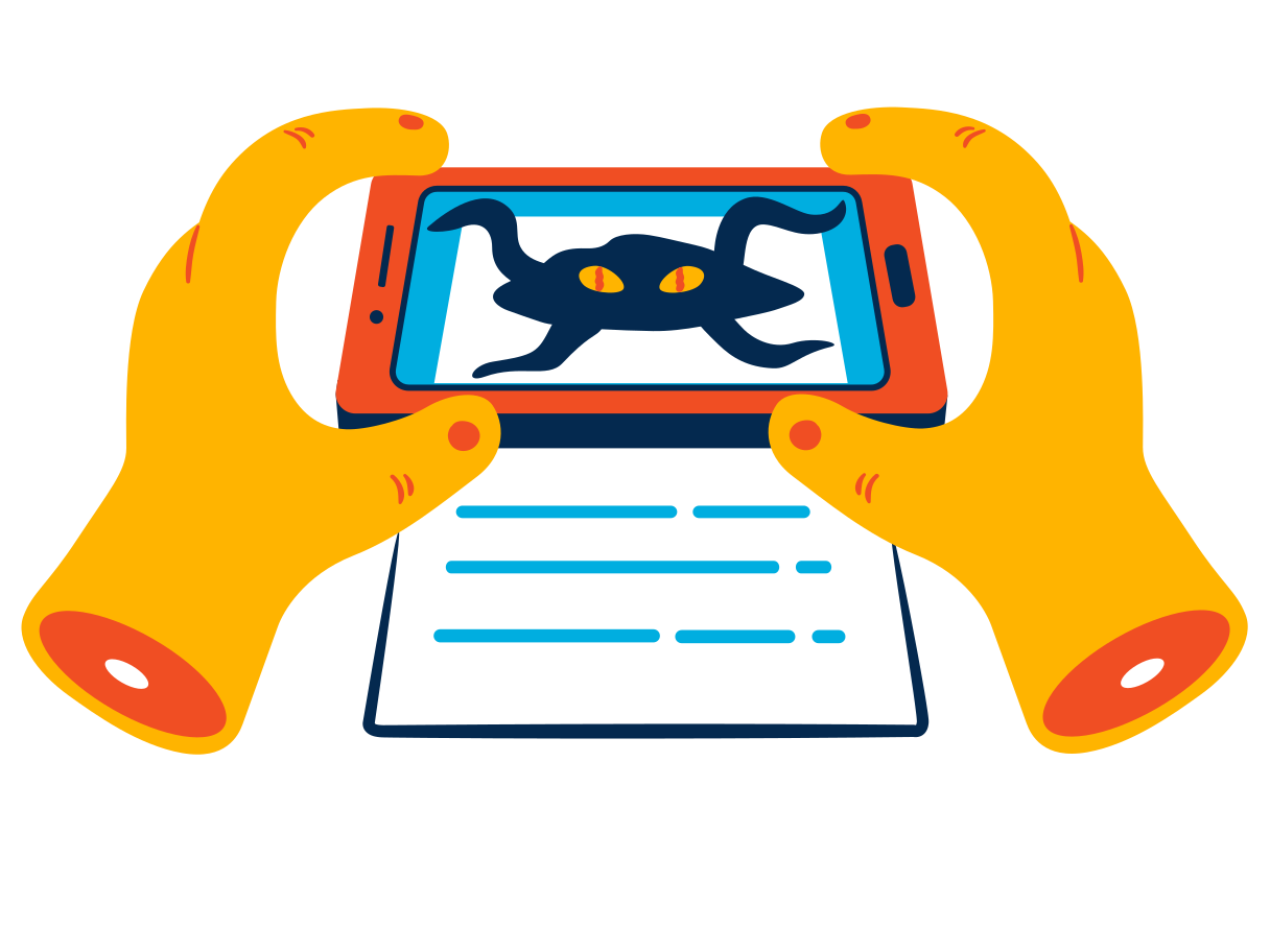 Augmented reality in the phone Clipart illustration in PNG, SVG
