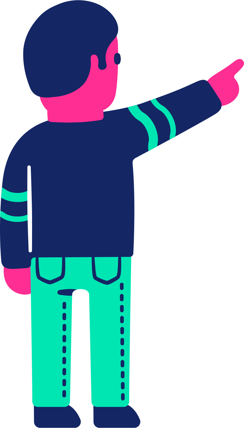 man back pointing up Clipart illustration in PNG, SVG