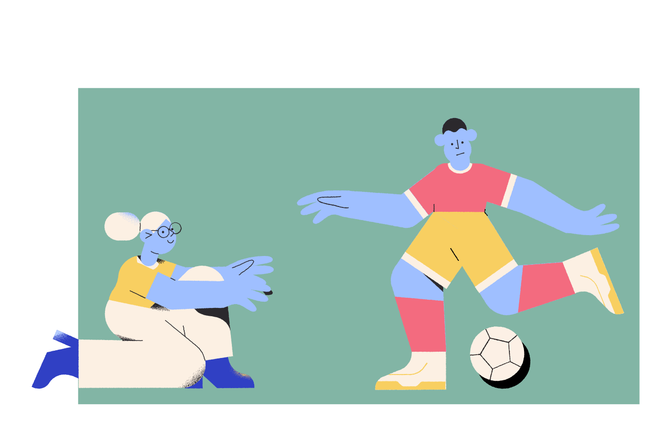 Playing football Clipart illustration in PNG, SVG