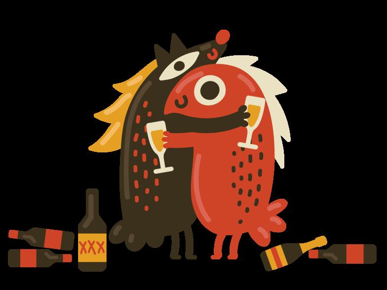 Drunk friends Clipart illustration in PNG, SVG