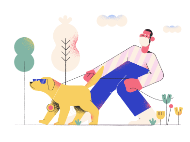 style Walking a dog images in PNG and SVG | Icons8 Illustrations