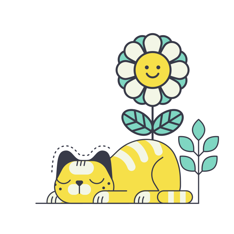 Cat sleeping under a cute flower Clipart illustration in PNG, SVG