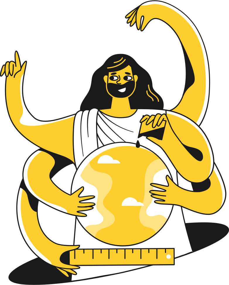 six arm god with planet Clipart illustration in PNG, SVG