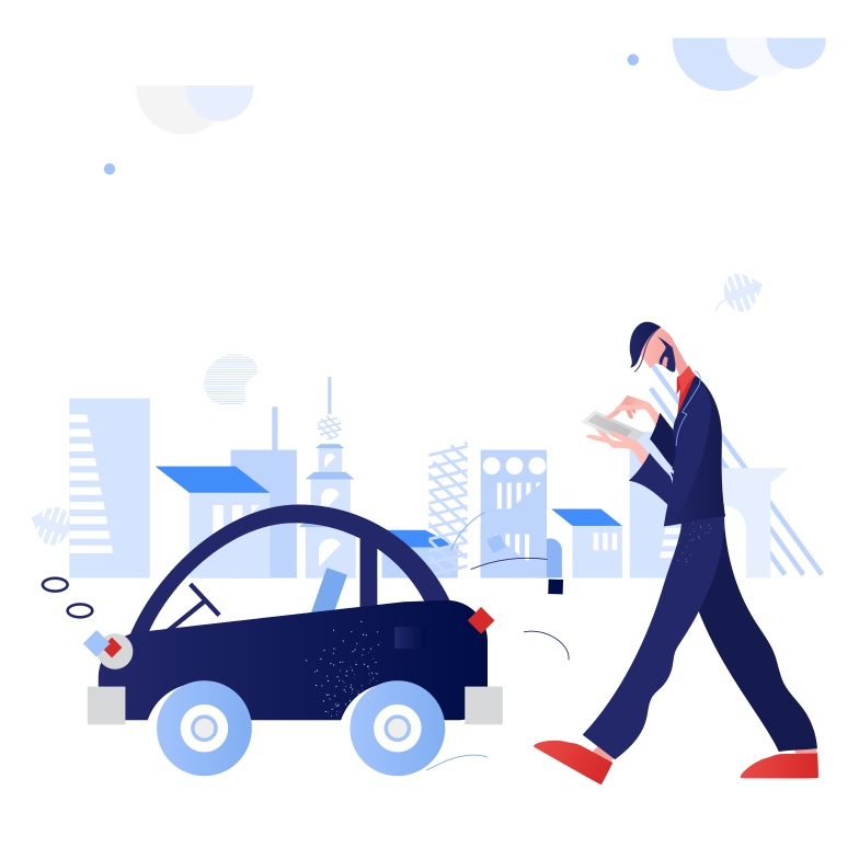 Ordering a car  Clipart illustration in PNG, SVG