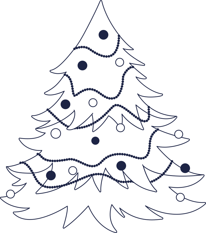 new year tree line Clipart illustration in PNG, SVG