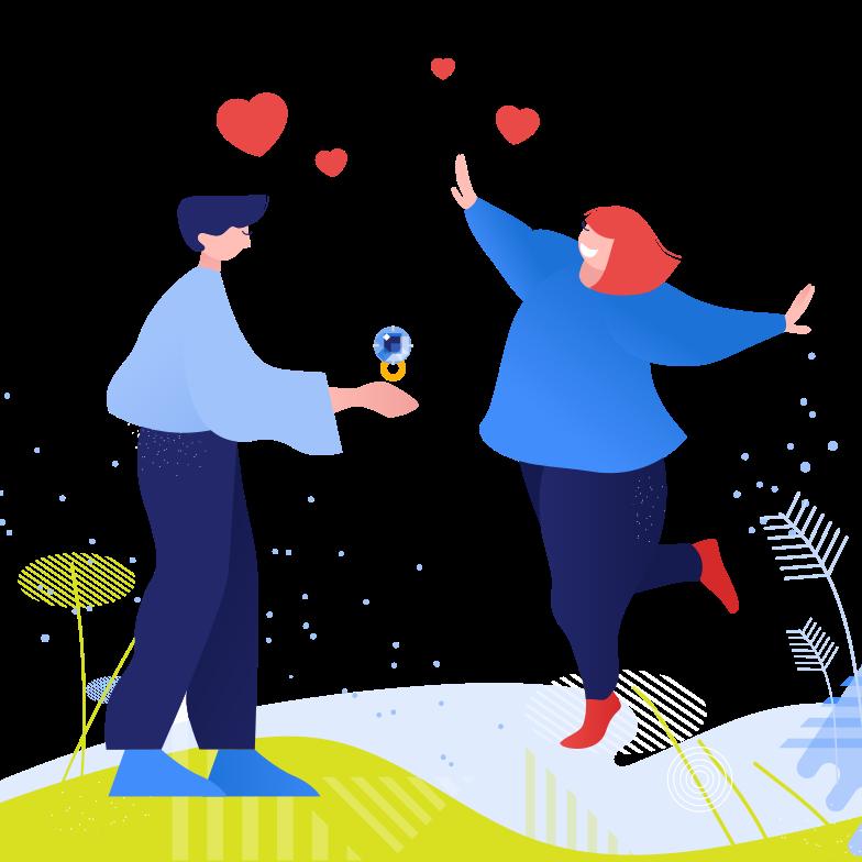Иллюстрация Предложение руки и сердца в стиле  в PNG и SVG | Icons8 Иллюстрации