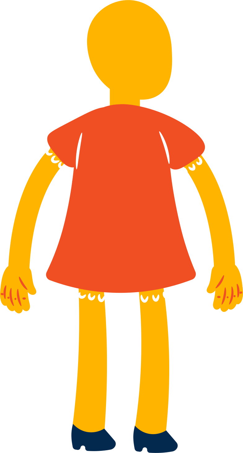 girl standing back Clipart illustration in PNG, SVG