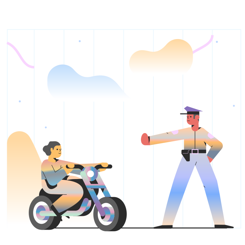 Police officer stops motorcycle Clipart illustration in PNG, SVG