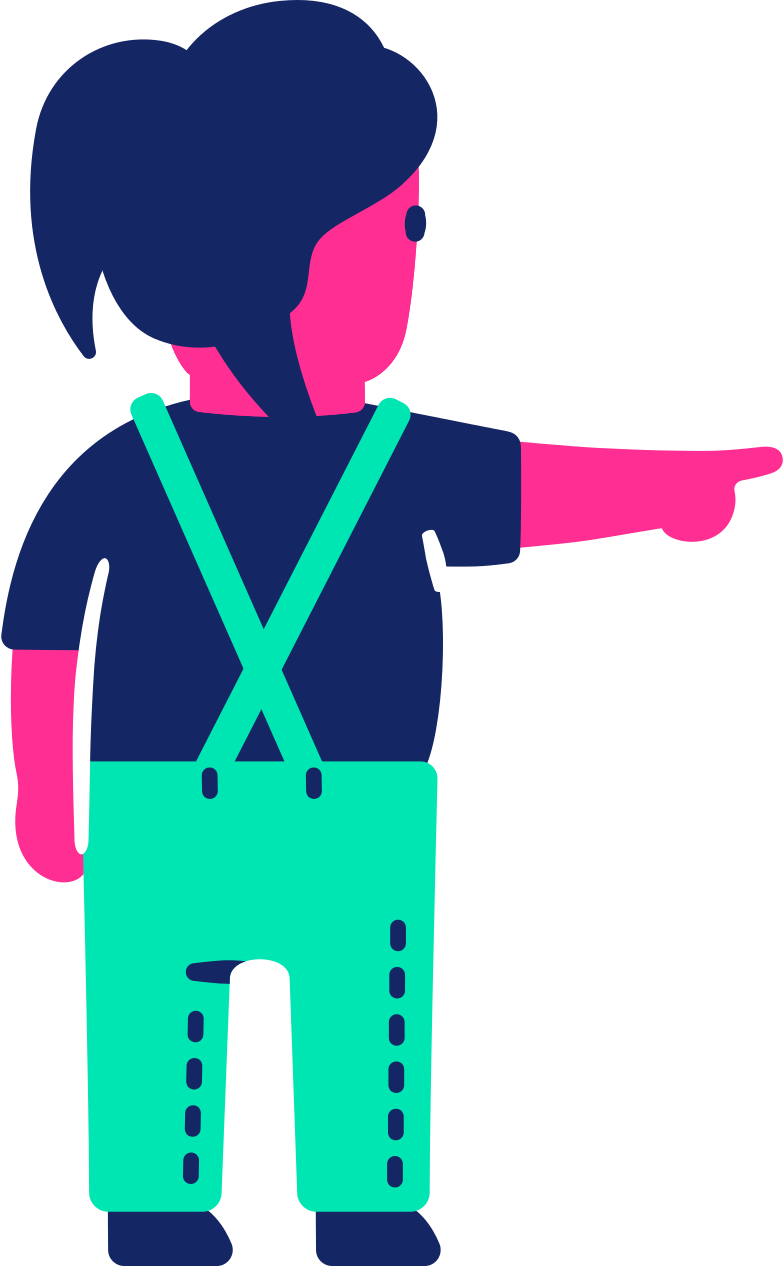 child back pointing Clipart illustration in PNG, SVG