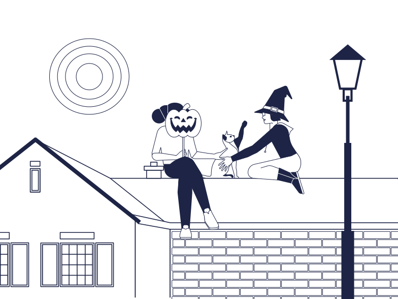 Witches On The Roof Clipart illustration in PNG, SVG