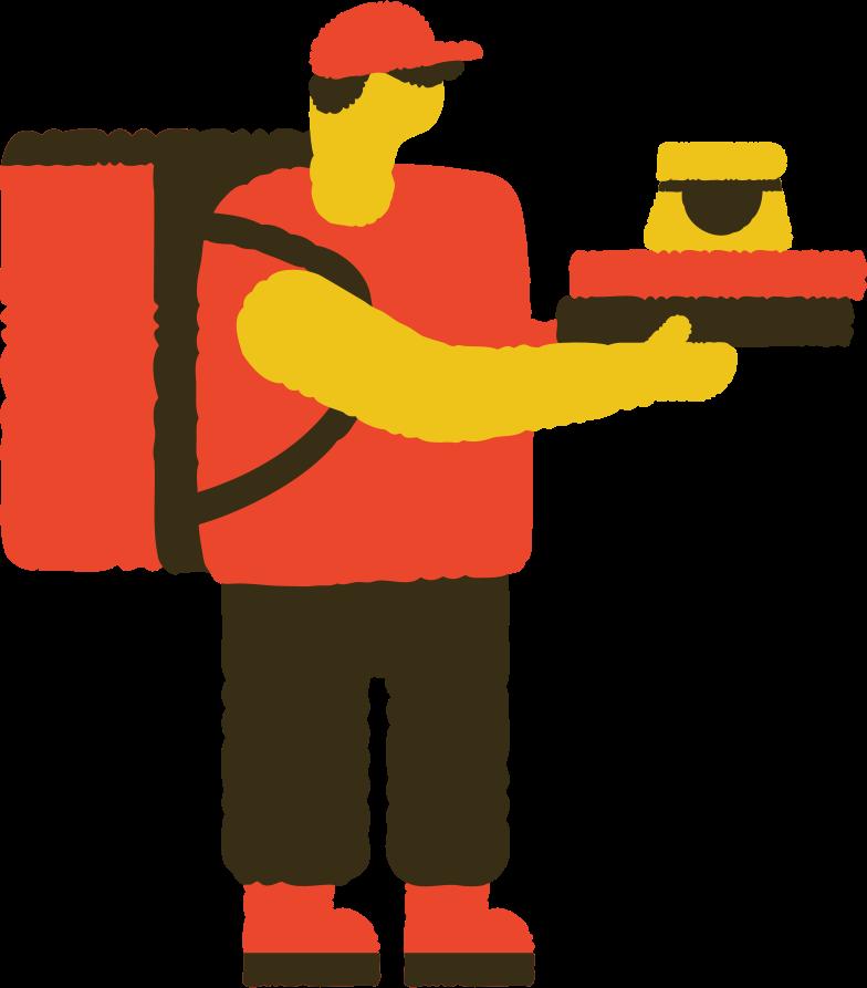 food delivery man Clipart illustration in PNG, SVG