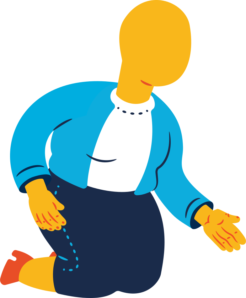 chubby old woman sitting on knees Clipart illustration in PNG, SVG