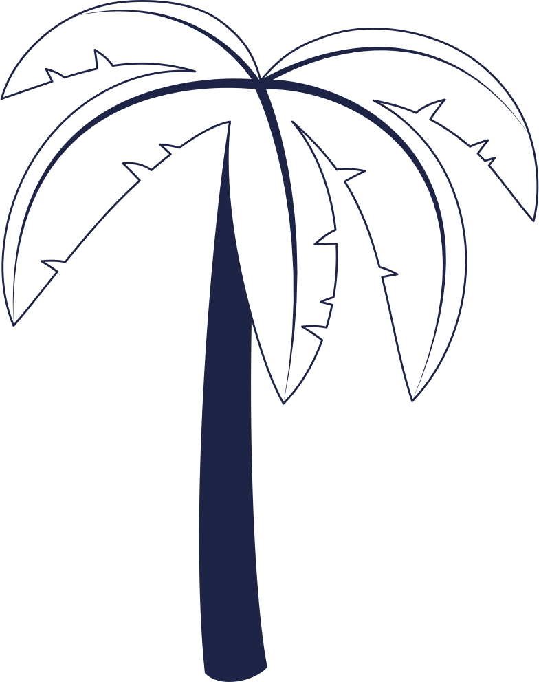 palm tree 1 line Clipart illustration in PNG, SVG