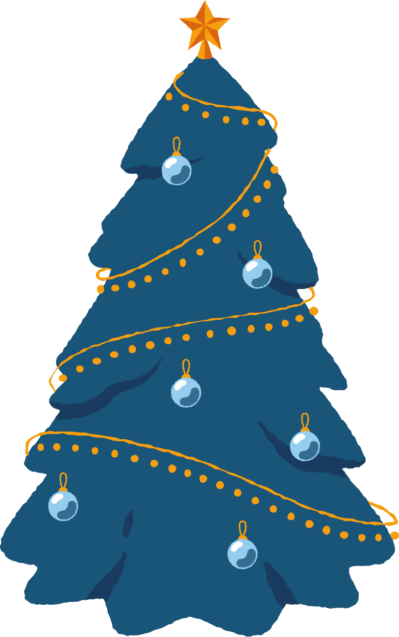 christmas tree decorated Clipart illustration in PNG, SVG