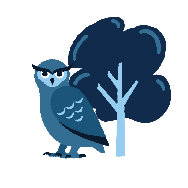 Owl near the tree Clipart illustration in PNG, SVG