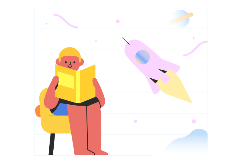 style Reading a book about space Vector images in PNG and SVG | Icons8 Illustrations