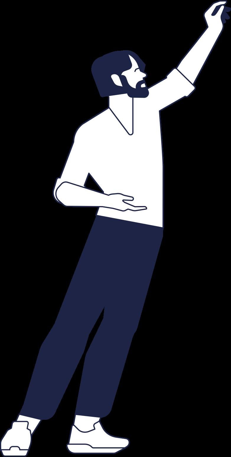 Клипарт Скачивание человека с поднятой рукой в PNG и SVG