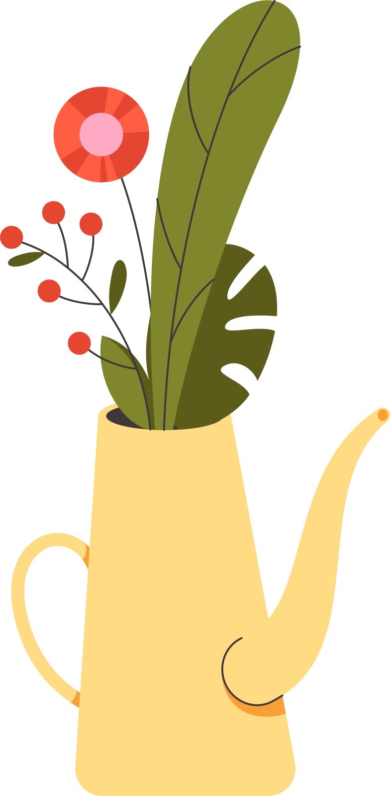 flowers in a watering can Clipart illustration in PNG, SVG