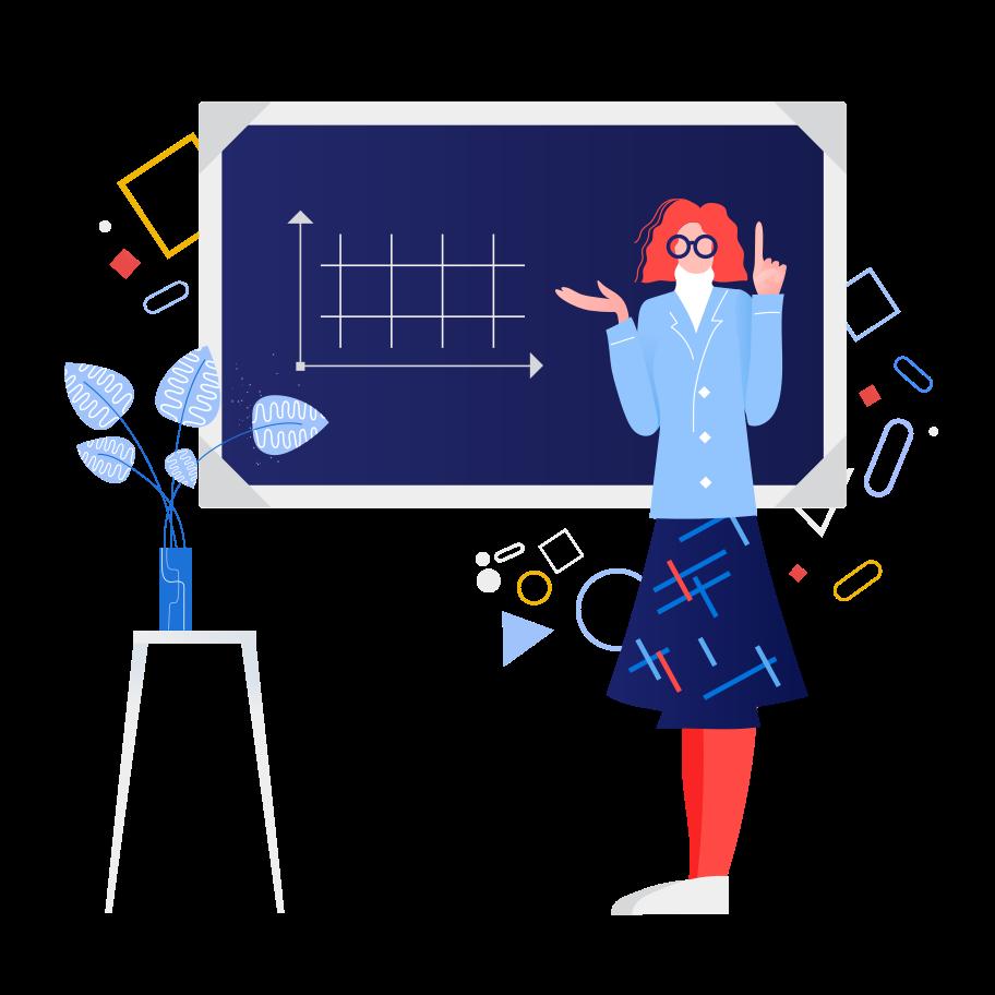 Schoolteacher near the blackboard Clipart illustration in PNG, SVG