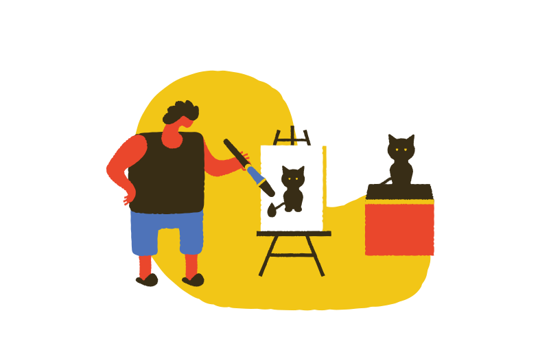 Drawing a cat Clipart illustration in PNG, SVG