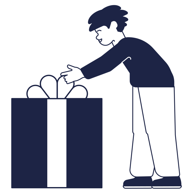 Receives a gift Clipart illustration in PNG, SVG